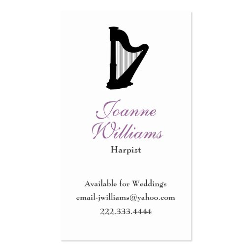 Stylish Harpist Business Card