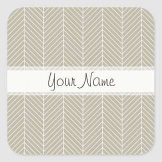 Stylish Herringbone Chevrons Pattern in Beige Square Sticker