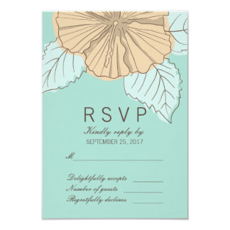Stylish Hibiscus Mint Response RSVP Card