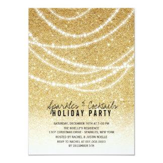 Stylish Holiday Gold Glitter Sparkles Party Invite