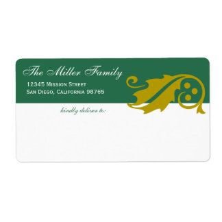 Stylish holly leaf Christmas green gold shipping Label