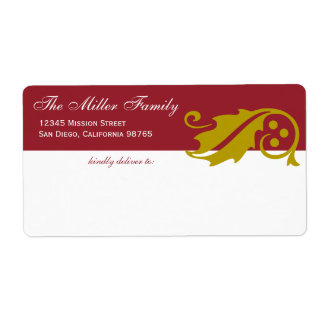 Stylish holly leaf Christmas red gold shipping Label