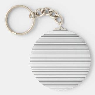 Stylish Horizontal Lines Design in Black and White Basic Round Button Keychain