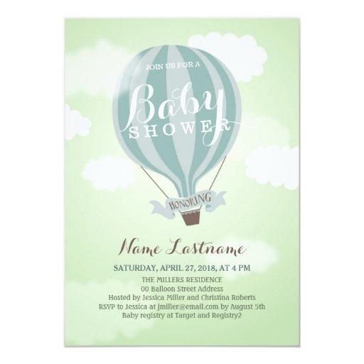 stylish hot air balloon boy baby shower invite 5 x 7 invitation c