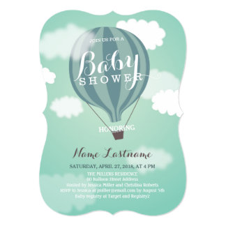 Stylish Hot Air Balloon Boy Baby Shower Invite Personalized Invites