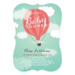 Stylish Hot Air Balloon Girl Baby Shower Invite Custom Invitation