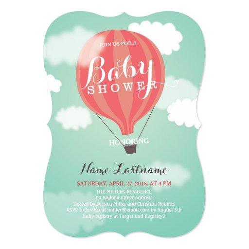 stylish hot air balloon girl baby shower invite 5 x 7 invitation