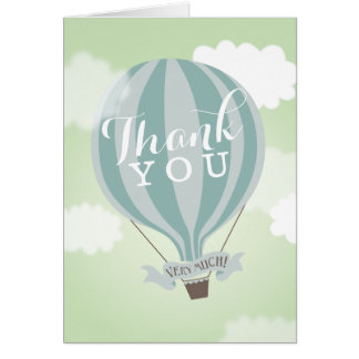 Stylish Hot Air Blue Balloon Thank You Note Card