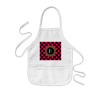 Stylish Hot Pink and Black Polka Dots Pattern Kids' Apron