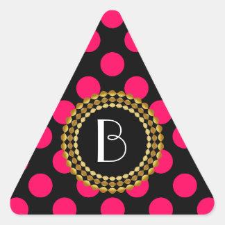 Stylish Hot Pink and Black Polka Dots Pattern Triangle Sticker