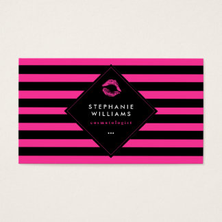 Stylish Hot Pink and Black Stripes with Pink Lips Business Card