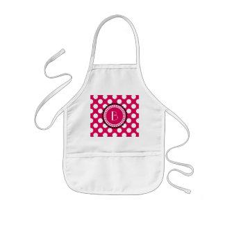 Stylish Hot Pink and White Polka Dots Pattern Kids' Apron