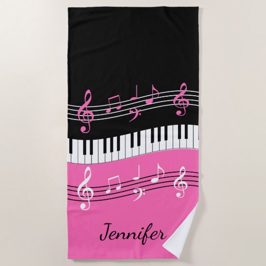 Stylish Hot Pink Black White Piano Keys and Notes Beach Towel