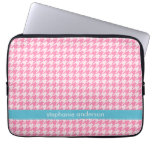 Stylish Hot Pink Houndstooth Pattern Computer Sleeves