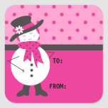 Stylish Hot Pink Snowman/Woman Sticker
