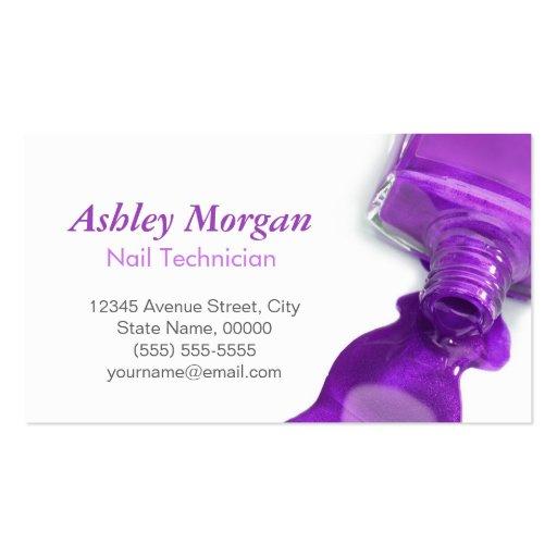 Stylish Hot Purple Glitter Nail Salon Manicure Business Card Template (back side)
