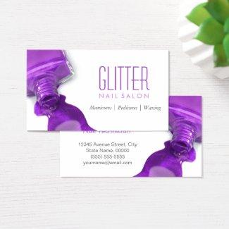 Stylish Hot Purple Glitter Nail Salon Manicure Business Card