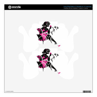 Stylish illustration of Pin up woman silhouette PS3 Controller Skins