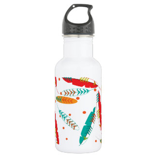 Stylish Indian Tribal Feathers Pattern Stainless Steel Water Bottle