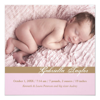 Stylish Inscription Photo Birth Announcement
