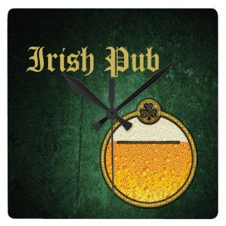 Stylish  Irish Pub beer logo Square Wall Clock