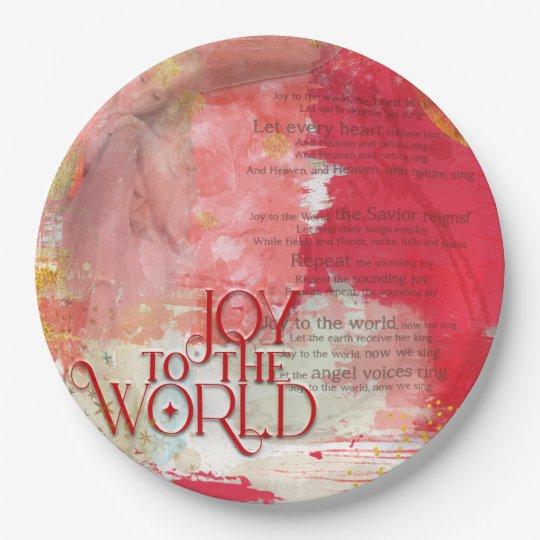 Stylish Joy To The World Lyrics Christmas Carol Paper Plate | Zazzle.com