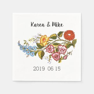Stylish Kalocsai  flowers - personalized wedding Napkin