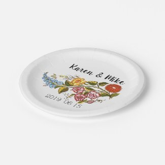 Stylish Kalocsai  flowers - personalized wedding Paper Plate