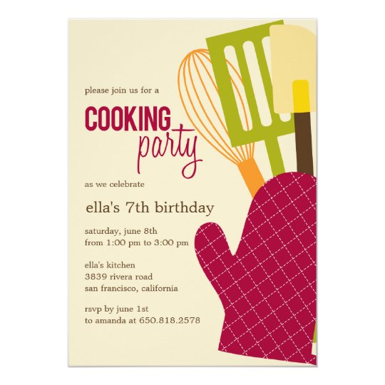 Stylish Kitchen Cooking Party Invitations