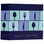 Stylish Kitchen Modern Cooking Recipe Blue Binder
