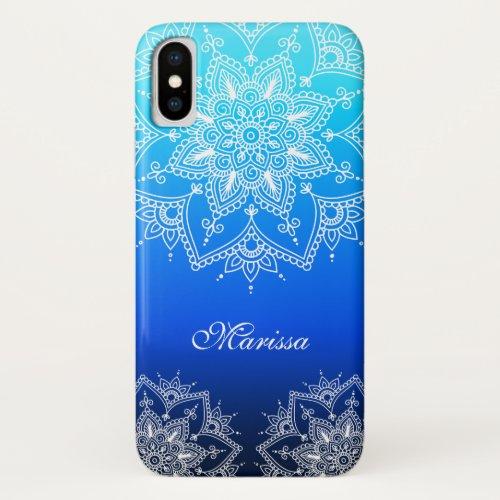 Stylish Lace Mandala White Flowers Aqua Navy Ombre Phone Case