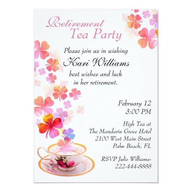 Stylish Ladies Retirement Tea Party Invitation Zazzle Com