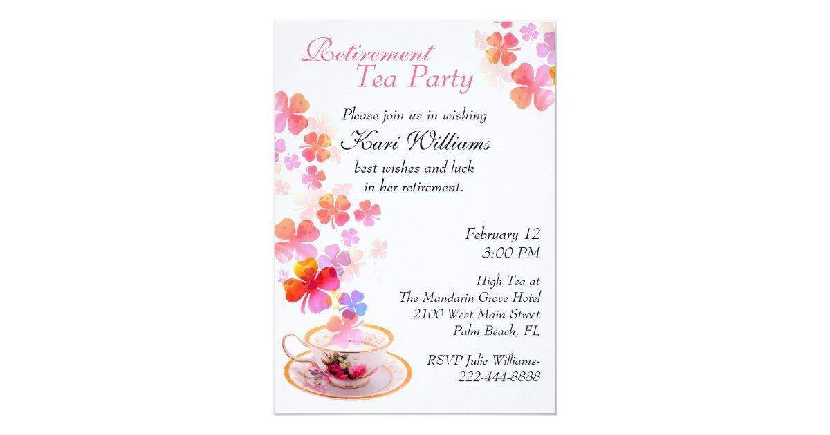 Stylish Ladies Retirement Tea Party Invitation