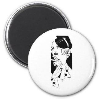 Stylish Lady 2 Inch Round Magnet