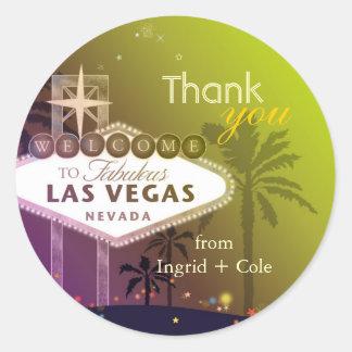 Stylish Las Vegas Wedding Thank You Favor Classic Round Sticker
