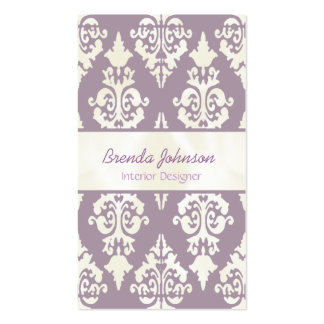 Stylish Lavender and Ivory Damask Business Card