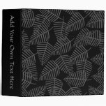 Stylish Leaf Pattern in Dark Gray and Black. Vinyl Binder