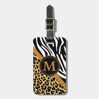 Stylish Leopard and Zebra Print Custom Monogram Tag For Bags