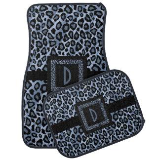 Stylish Leopard Animal Print Pattern | Blue Car Mat