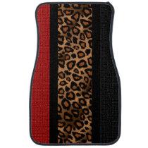 Stylish Leopard Animal Print Pattern | Dark Red Car Floor Mat