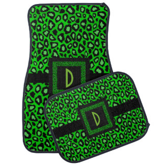Stylish Leopard Animal Print Pattern | Lime Green Car Mat