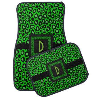 Stylish Leopard Animal Print Pattern | Lime Green Car Mat