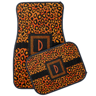 Stylish Leopard Animal Print Pattern | Orange Car Floor Mat