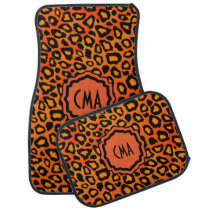 Stylish Leopard Animal Print Pattern | Orange Car Mat
