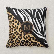 Stylish Leopard Print and Zebra Print Monogram Throw Pillow