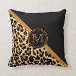 Stylish Leopard Print Custom Monogram Pillow