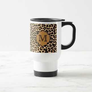 Stylish Leopard Print Custom Monogram Travel Mug