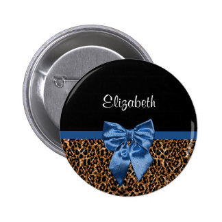 Stylish Leopard Print Elegant Blue Bow and Name 2 Inch Round Button