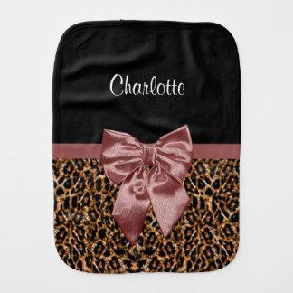 Stylish Leopard Print Elegant Brown Bow and Name Burp Cloth