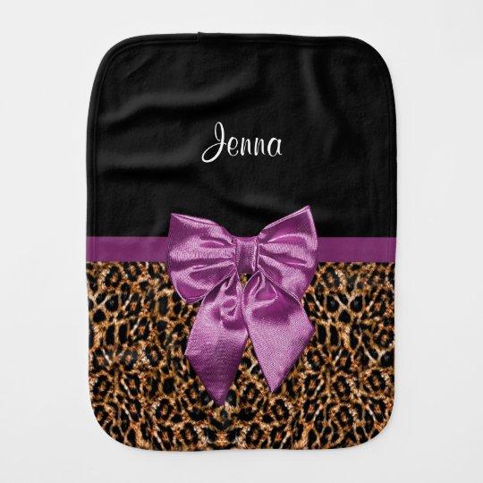 b7a0b884c2 Stylish Leopard Print Elegant Purple Bow and Name Burp Cloth ...
